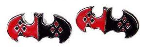 Bruce Wayne Logo Shield Harley Quinn Stud Earrings