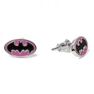 Bruce Wayne Silver Plated Logo Stud Earrings