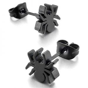 Peter Parker Men's Stainless Steel Stud Black Silver Spider Punk Rock Earrings