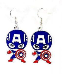 Steve Rogers Charm Character Metal Dangle Hook Earrings