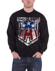 Steve Rogers Distressed Logo Official Mens Black Sweatshirt