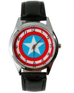 Steve Rogers Logo Genuine Leather Quartz Wrist Watch