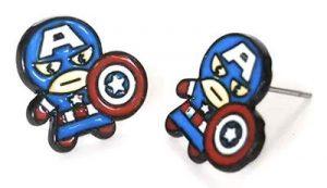 Steve Rogers Metal Enamel Stud Earrings