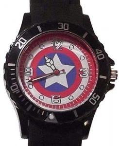 Steve Rogers Shield Black Silicone Band Wrist Watch
