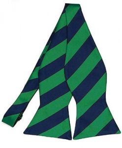 Jack Black Kelly Green and Navy Blue Striped Bow Tie