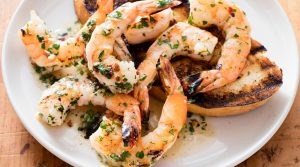 Grilled Shrimps with Charred Peppers and Queso