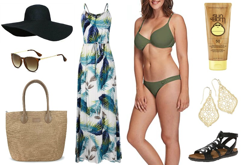 Bikini + Cover up + Hat + Bag + Sunglasses + Shoes