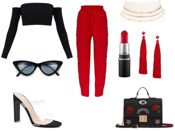 Dress + Shoes + Necklace + Bag + Red lipstick + Shoes
