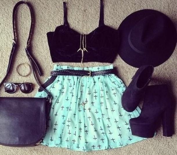 Tank top + Shirt + Skirt + Hat + Necklace + Bag + Shoes