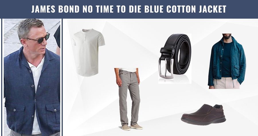 James Bond No Time to Die Blue Cotton Jacket