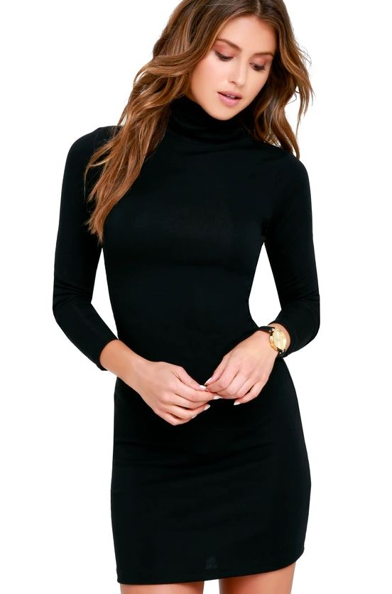 Black Long Sleeved Turtleneck Dress