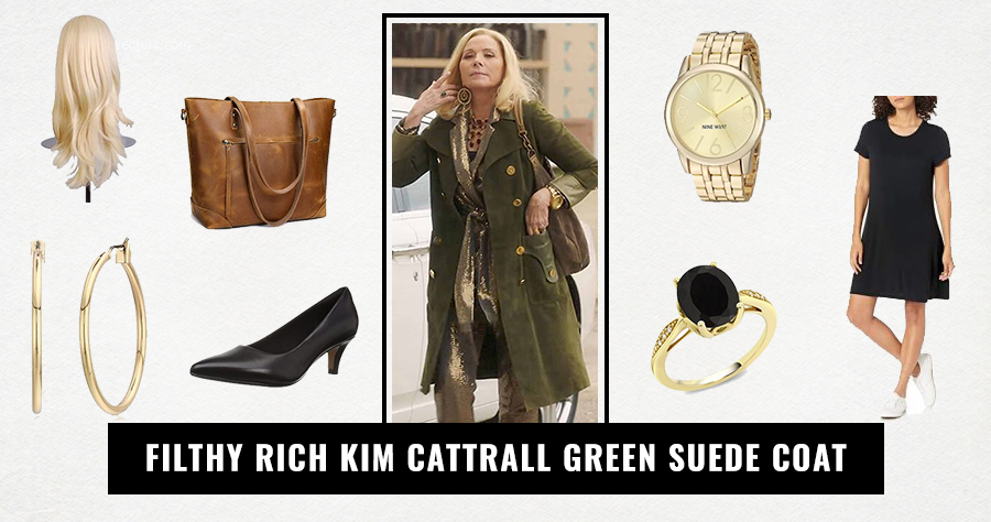 Filthy Rich Kim Cattrall Green Suede Coat