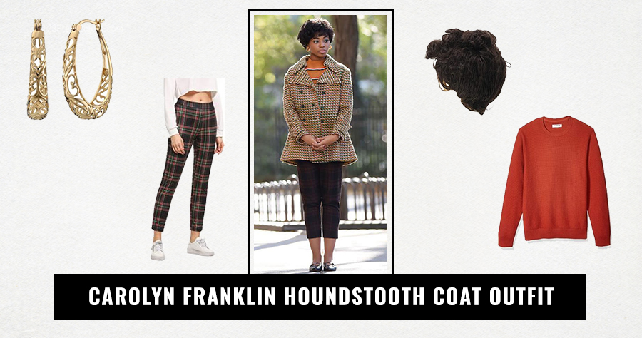 Carolyn Franklin Houndstooth coat outfit