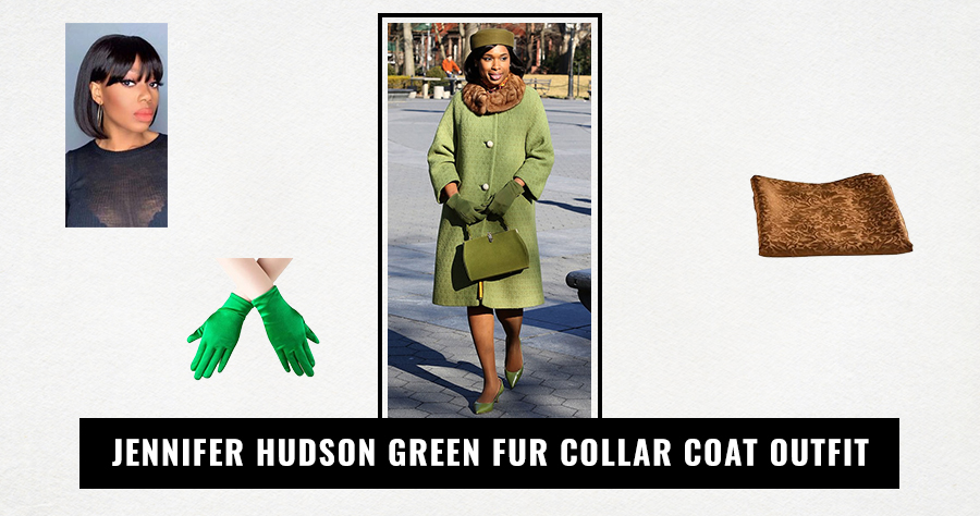 Jennifer Hudson Green Fur Collar Coat Outfit