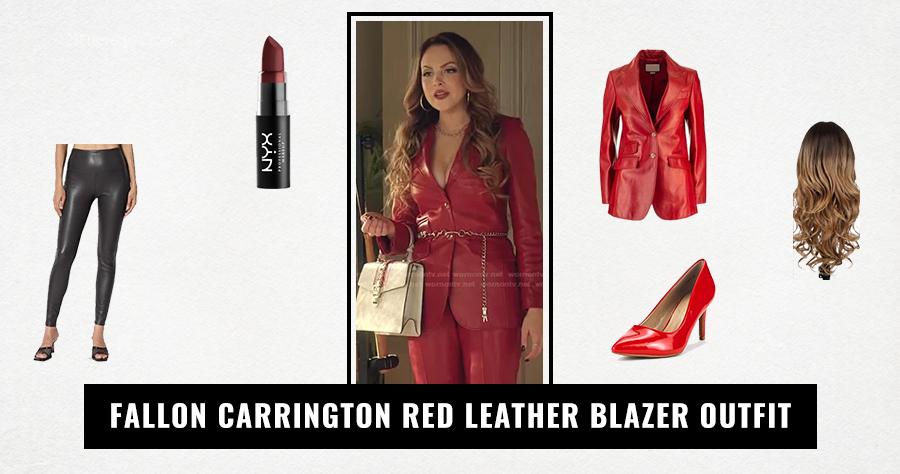 Fallon Carrington Red Leather Blazer Outfit