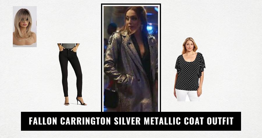 Fallon Carrington Silver Metallic Coat Outfit