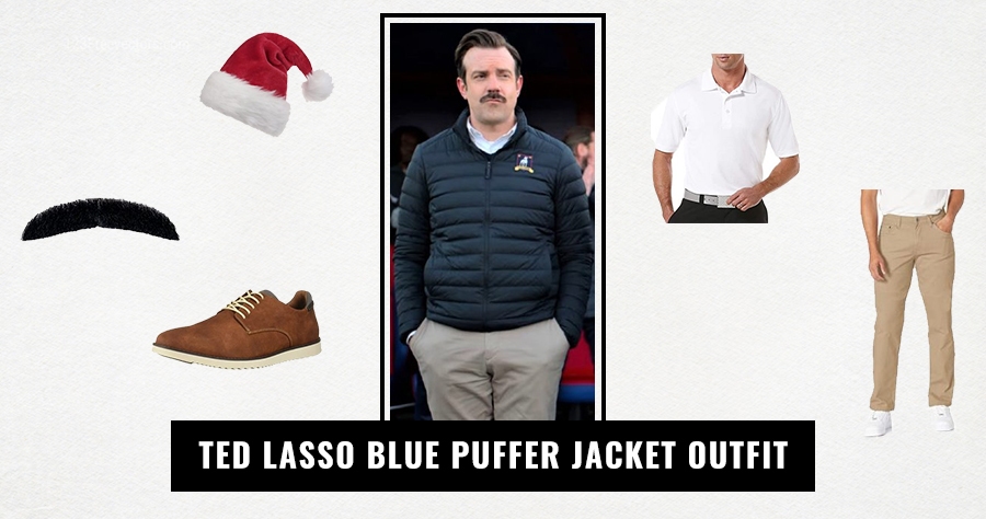 Ted Lasso Blue Puffer Jacket Outfit