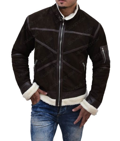 50 Cents Brown Leather Power Jacket