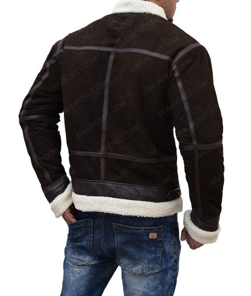 50 Cents Brown Shearling Leather Power Jacket