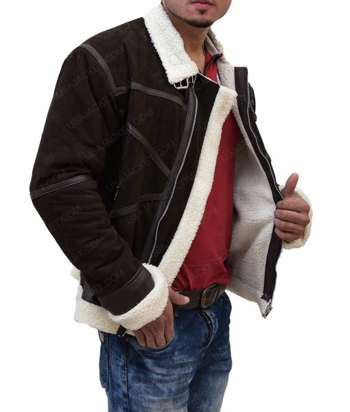 50 Cents Brown Shearling Power Jacket