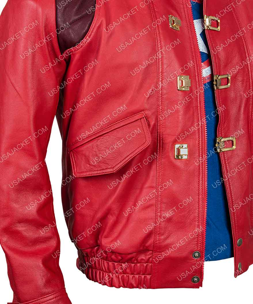 Akira Kaneda Jacket In Red Leather With Capsule Patch