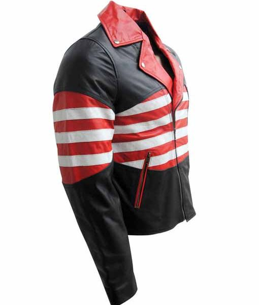 Mens American Flag Moto Jacket