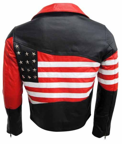 Mens American Flag Motorcycle Leather Jacket