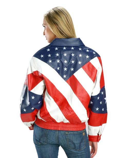 Womens American Flag Biker Leather Jacket