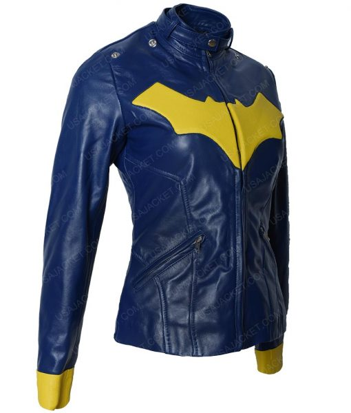 BatGirl Slimfit Blue Cafe Racer Leather Jacket