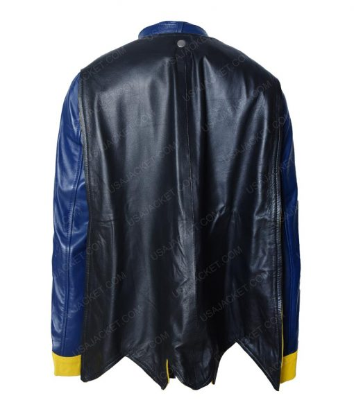 DC Comics BatGirl Blue Cafe Racer Leather Jacket