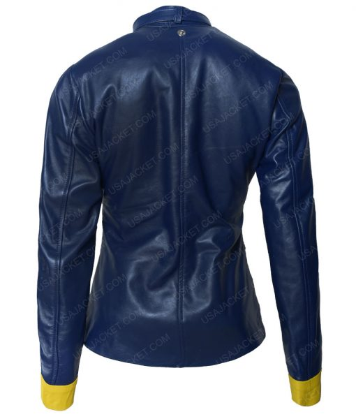 BatGirl Slimfit Blue Cafe Racer Jacket