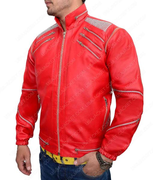 Beat It MJ Red Leather Jacket