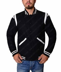 White Detailed Black Letterman Jacket
