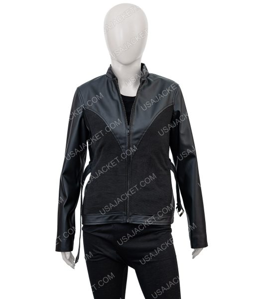 Black leather Avengers Age of Ultron Black Widow Jacket