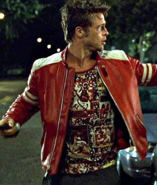 Brad Pitt Red Leather Jacket From Fight Club