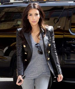 Kim Kardashian Black Leather Blazer