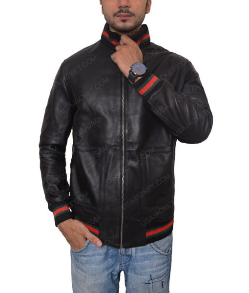 Eminem Black Leather Bomber Jacket