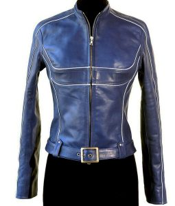 Jennifer Morrison Blue Leather Jacket