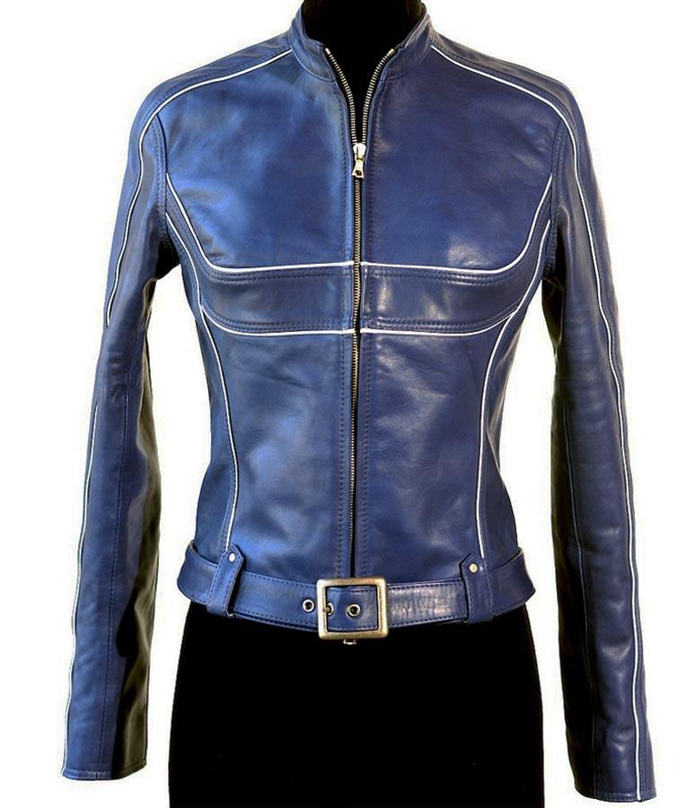Jennifer Morrison Blue Leather Jacket