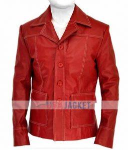 Brad Pitt Red Leather Coat Fight Club