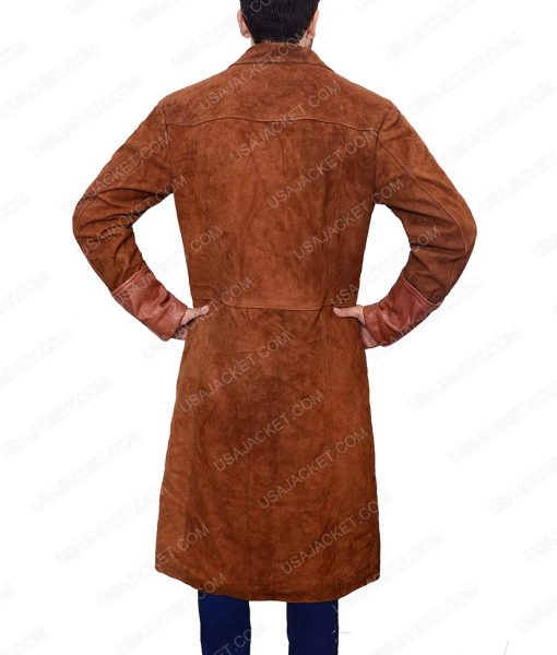 Firefly Brown Suede Leather Trench Coat
