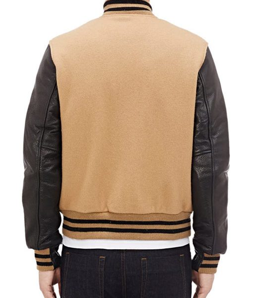 Golden Bear Style Letterman Leather Sleeves Jacket