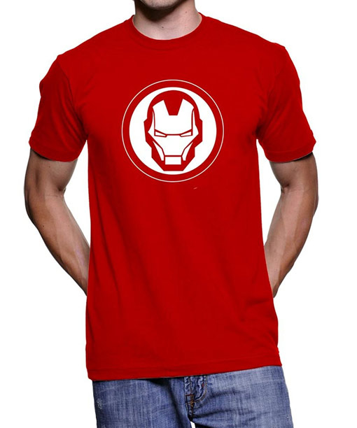 iron man shirt with logo in red color. Black Bedroom Furniture Sets. Home Design Ideas