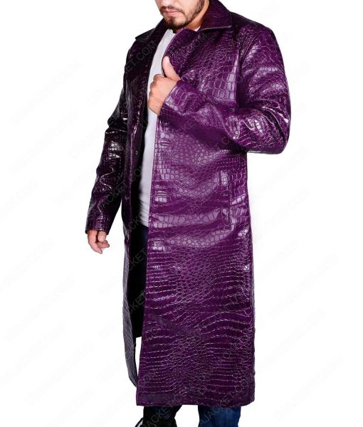 Suicide Squad Joker Purple Crocodile Leather Jacket