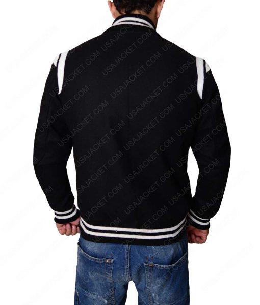 Black Bomber Baseball Jacket With White Detailing