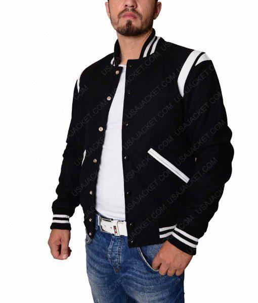Mens Black Baseball Jacket With White Detailing