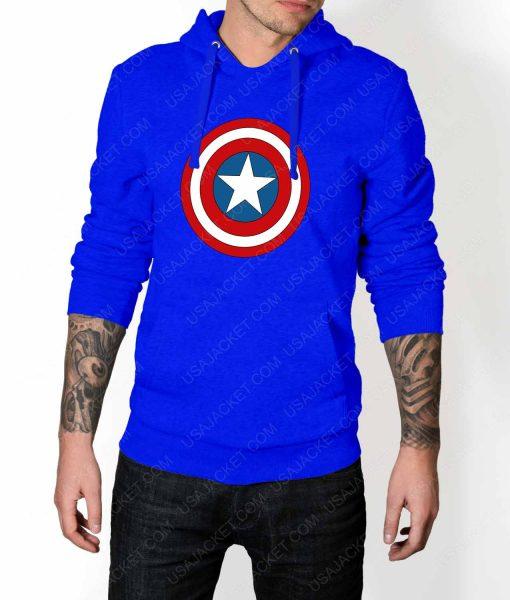 Mens Captain America Shield Logo Blue Hoodie