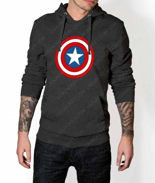 Mens Captain America Shield Logo Grey Hoodie