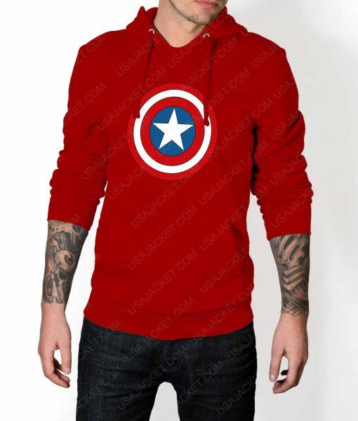 Mens Captain America Shield Logo Red Hoodie