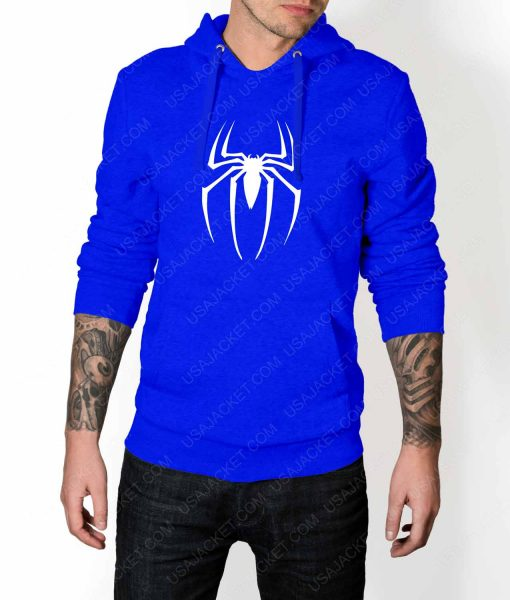 Mens Spiderman Logo Blue Hoodie